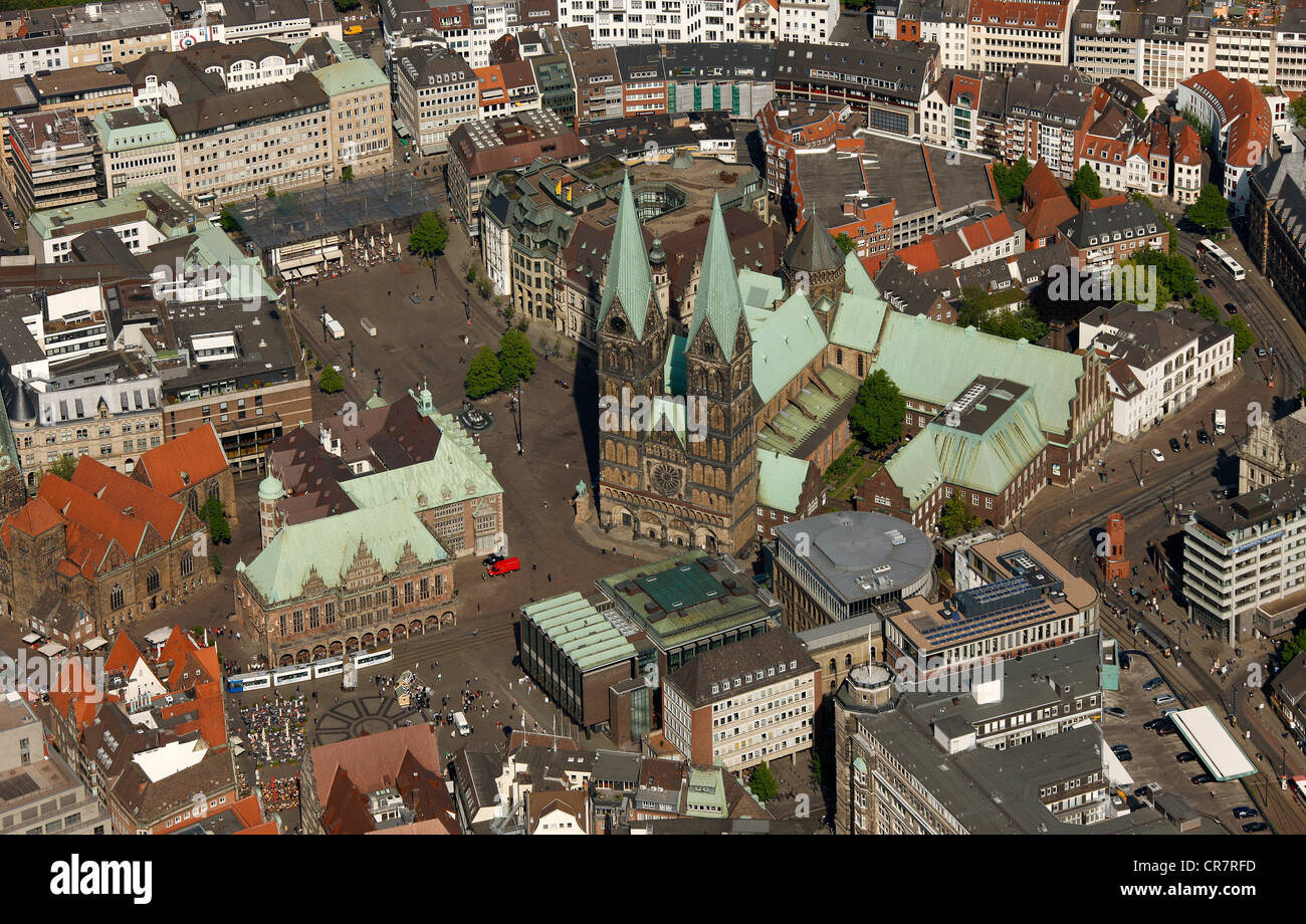 Aerial view, city hall, cathedral St. Petri-Dom, Am Markt, old town island, Bremen, Germany, Europe Stock Photo