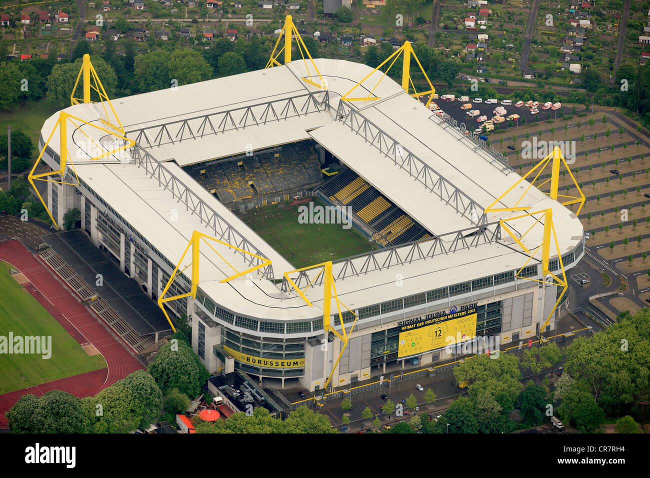 Aerial view, Signal Iduna Park during the championship celebration of the Borussia Dortmund, BVB, Dortmund, Ruhr - Stock Image