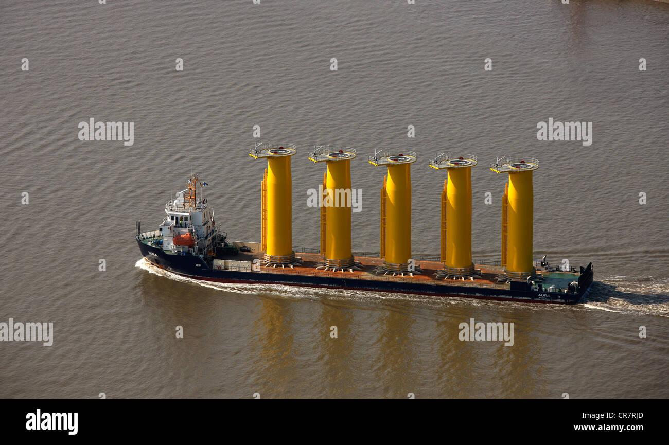 Aerial view, Aura Turka freighter, entrance to Kiel Canal, Dithmarschen, Schleswig-Holstein, Germany, Europe - Stock Image