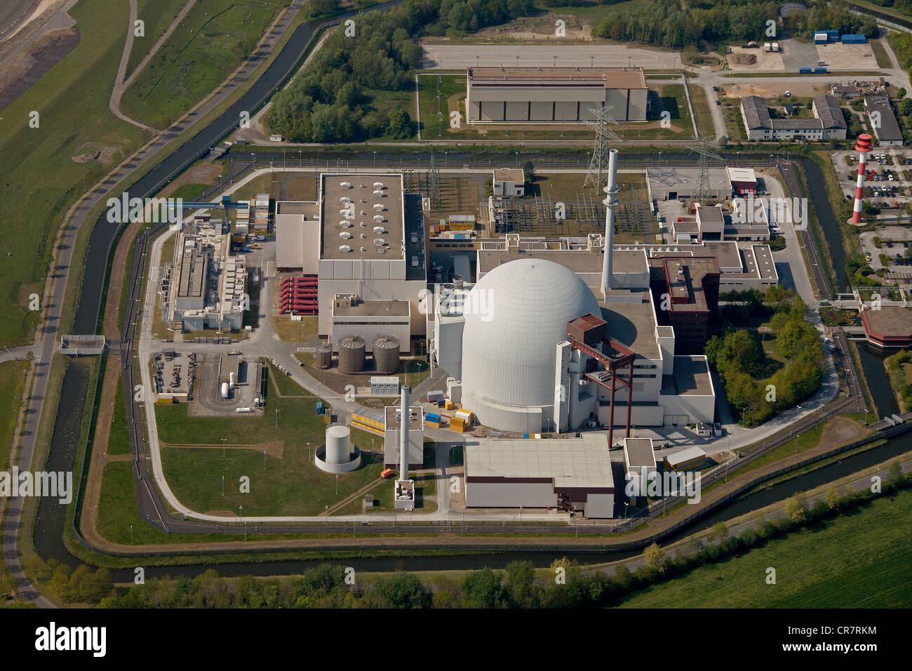 Aerial view, Brokdorf Nuclear Power Plant, Elbe, Schleswig-Holstein, Germany, Europe - Stock Image