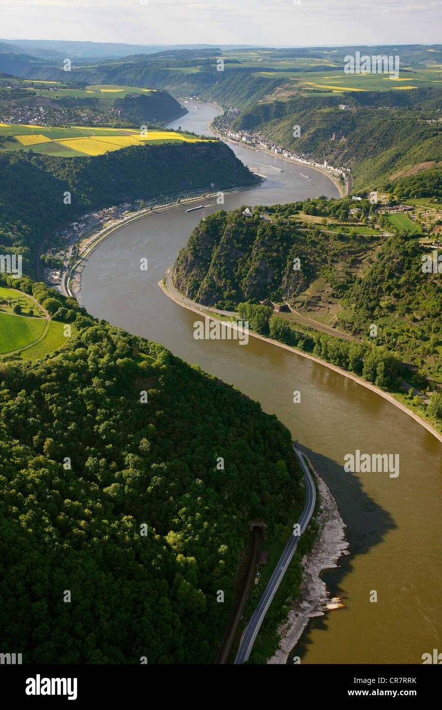Aerial view, Loreley rock, Oberwesel, Rhine River, low water, Upper Middle Rhine Valley World Heritage site Stock Photo
