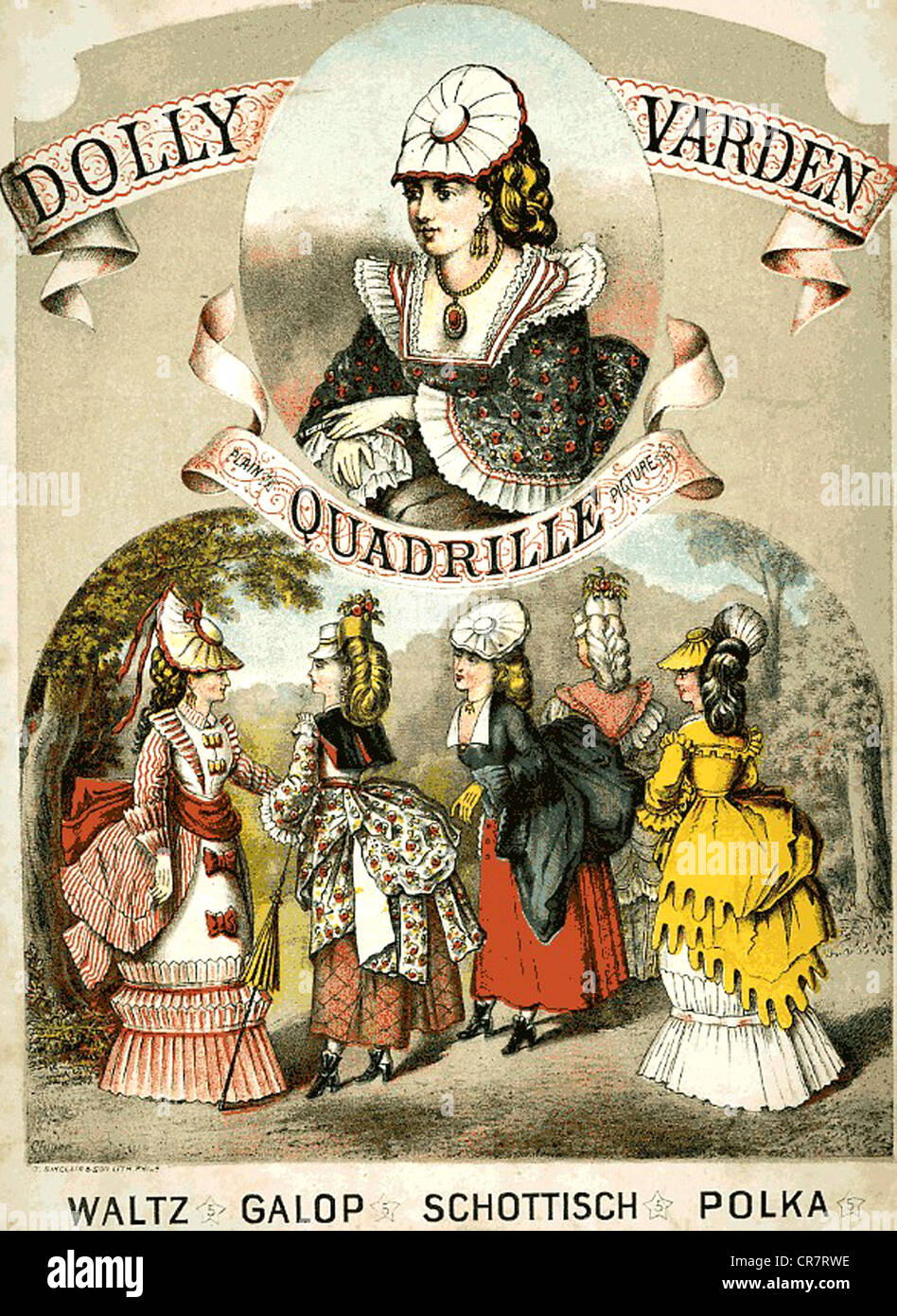 DOLLY VARDEN  1872 sheet music based on the womens fashion style popular at the time - Stock Image