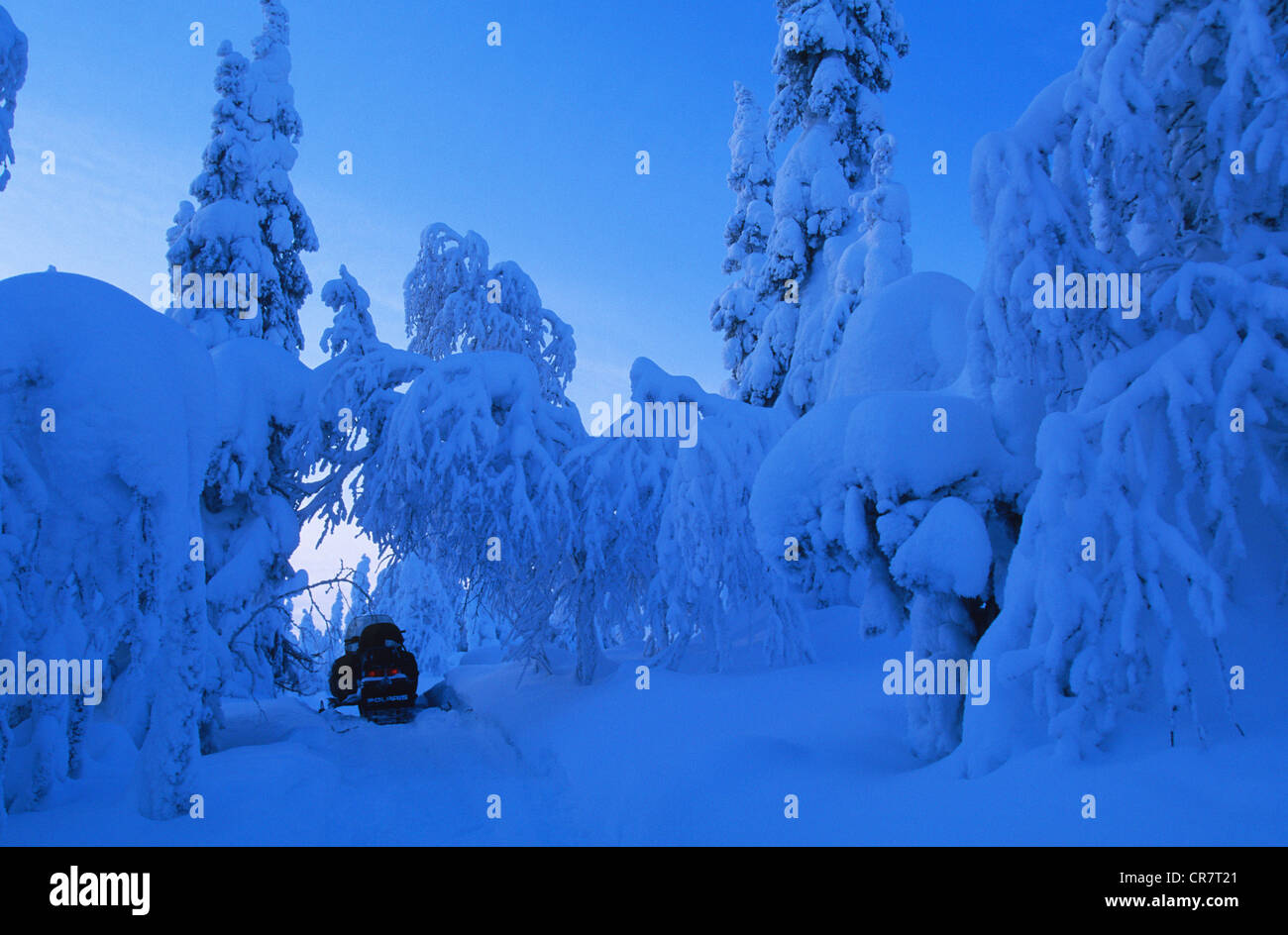 Finland, Lapland Province, Kuusamo, snow motorcycle trip to the Russian border - Stock Image