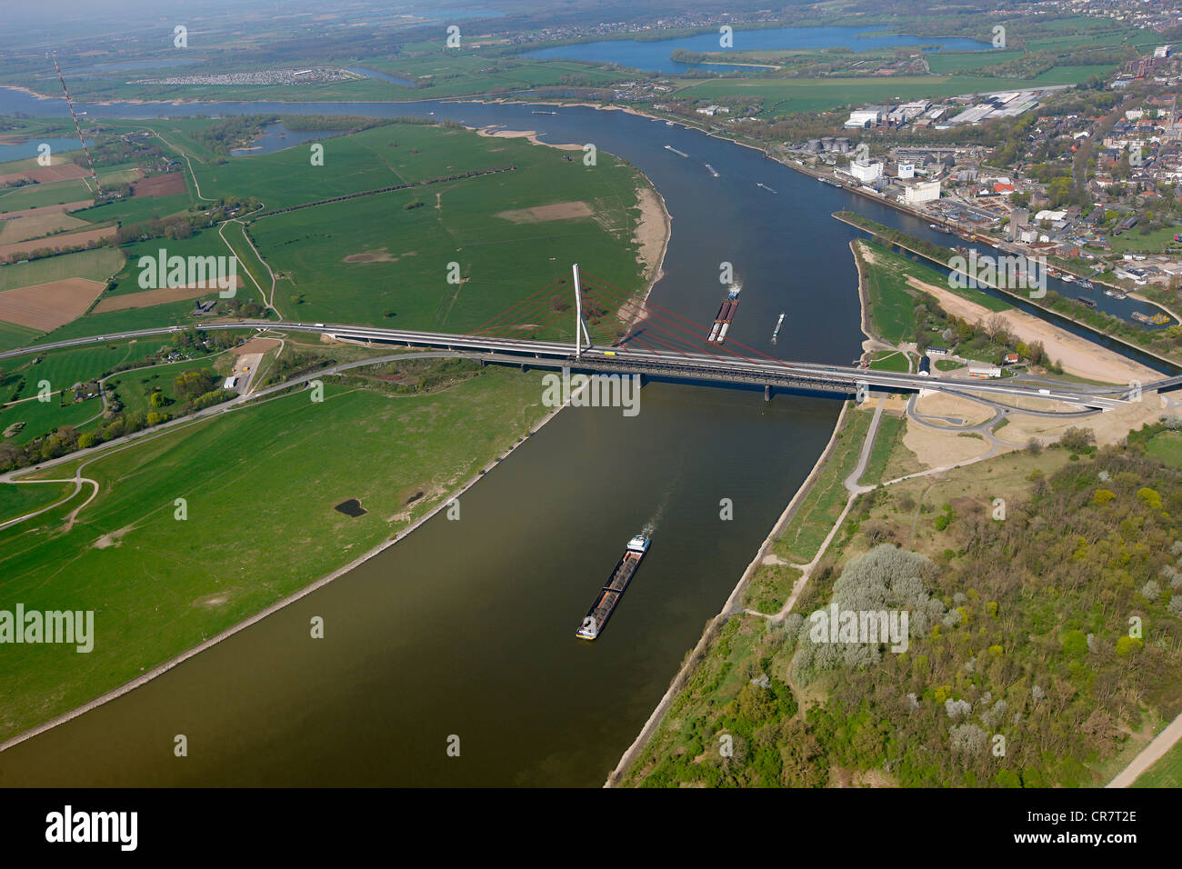 Aerial view, Lippe estuary, Lippe conversion, construction site, Rhine river, Lippe Association, Wesel, Ruhrgebiet - Stock Image