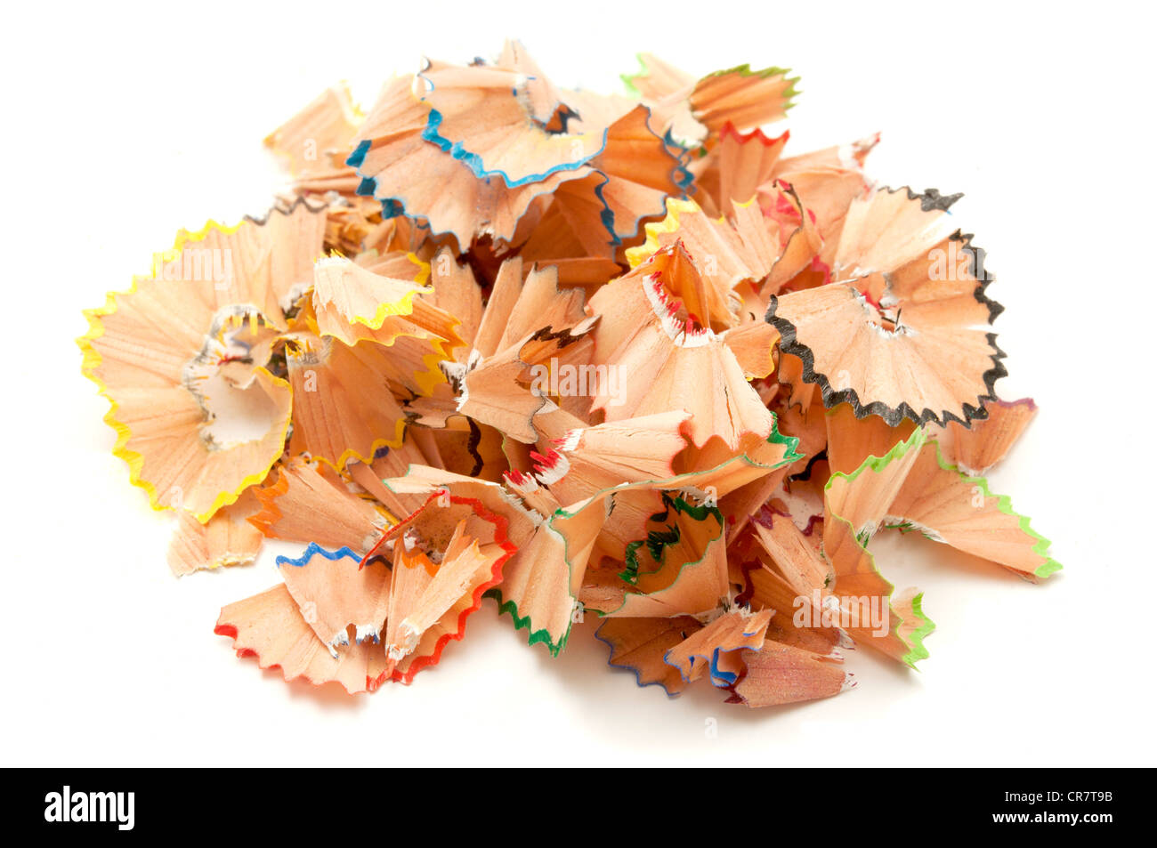 Pencil shavings on a white background - Stock Image