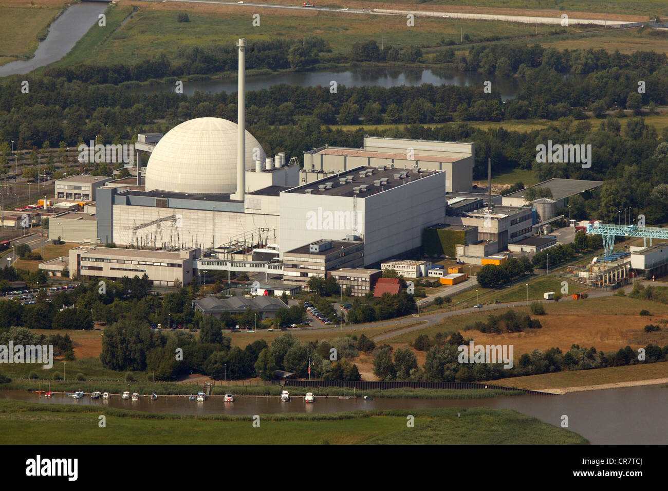 Aerial view, Unterweser Nuclear Power Plant, also known as KKW Kleinensiel and KKW Esenshamm, Lower Saxony, Germany, - Stock Image