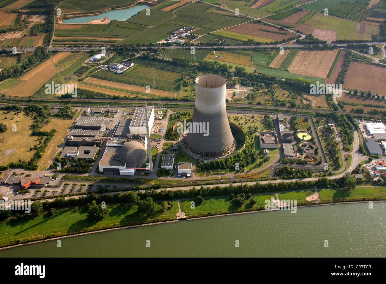 Aerial view, Muelheim-Kaerlich Nuclear Power Plant on the Rhine River, near Koblenz, Rhineland-Palatinate, Germany, - Stock Image