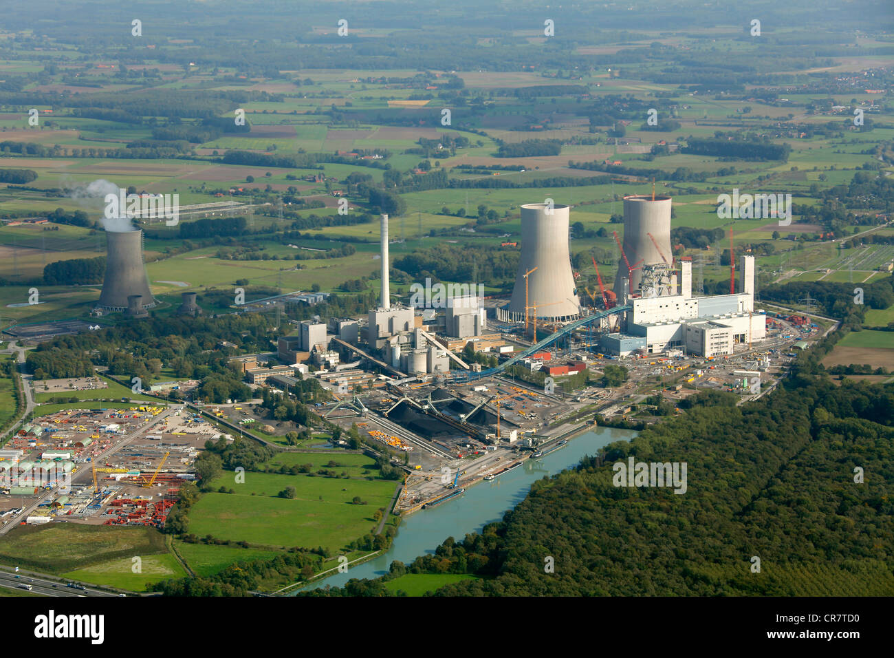 Aerial view, former THTR-300 Nuclear Power Plant, today Westfalen coal power station, under construction, safe enclosure, - Stock Image