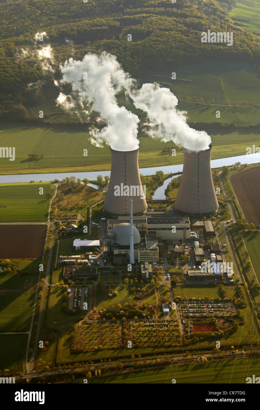Aerial view, Grohnde Nuclear Power Plant, KWG, Weser River, Grohnde, Lower Saxony, Germany, Europe - Stock Image