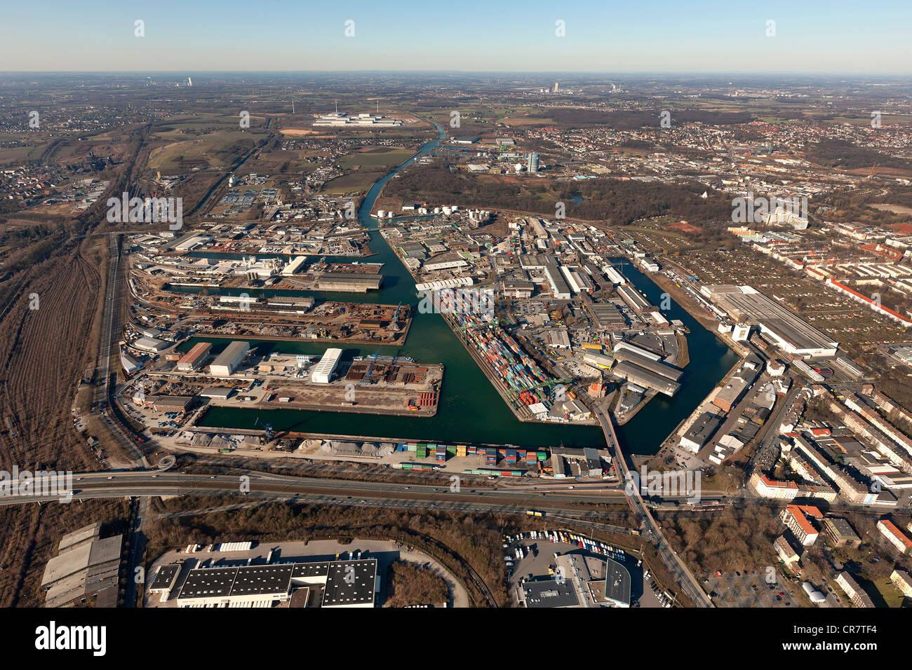 Port, Dortmund-Ems Canal, Dortmund, Ruhrgebiet area, North Rhine-Westphalia, Germany, Europe - Stock Image