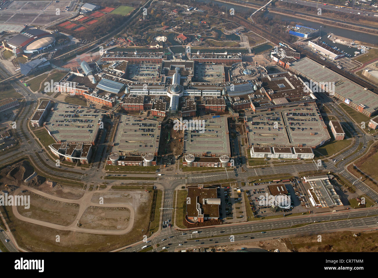 Aerial view, extension of the Centro Oberhausen mall, C and O extension, entrance area, Oberhausen, Ruhrgebiet region Stock Photo