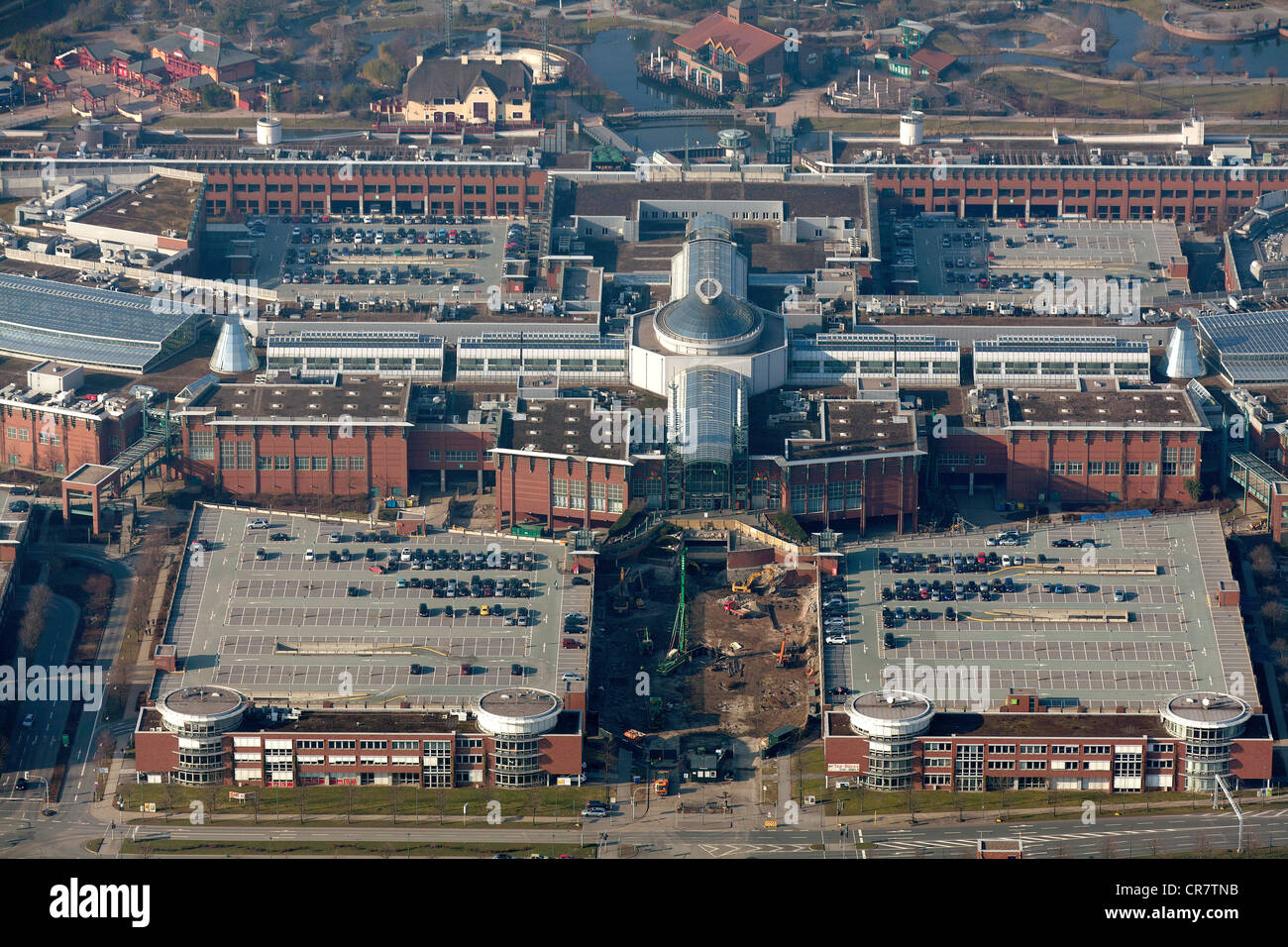 Aerial view, extension of the Centro Oberhausen mall, C and O extensions, entrance area, Oberhausen, Ruhrgebiet Stock Photo