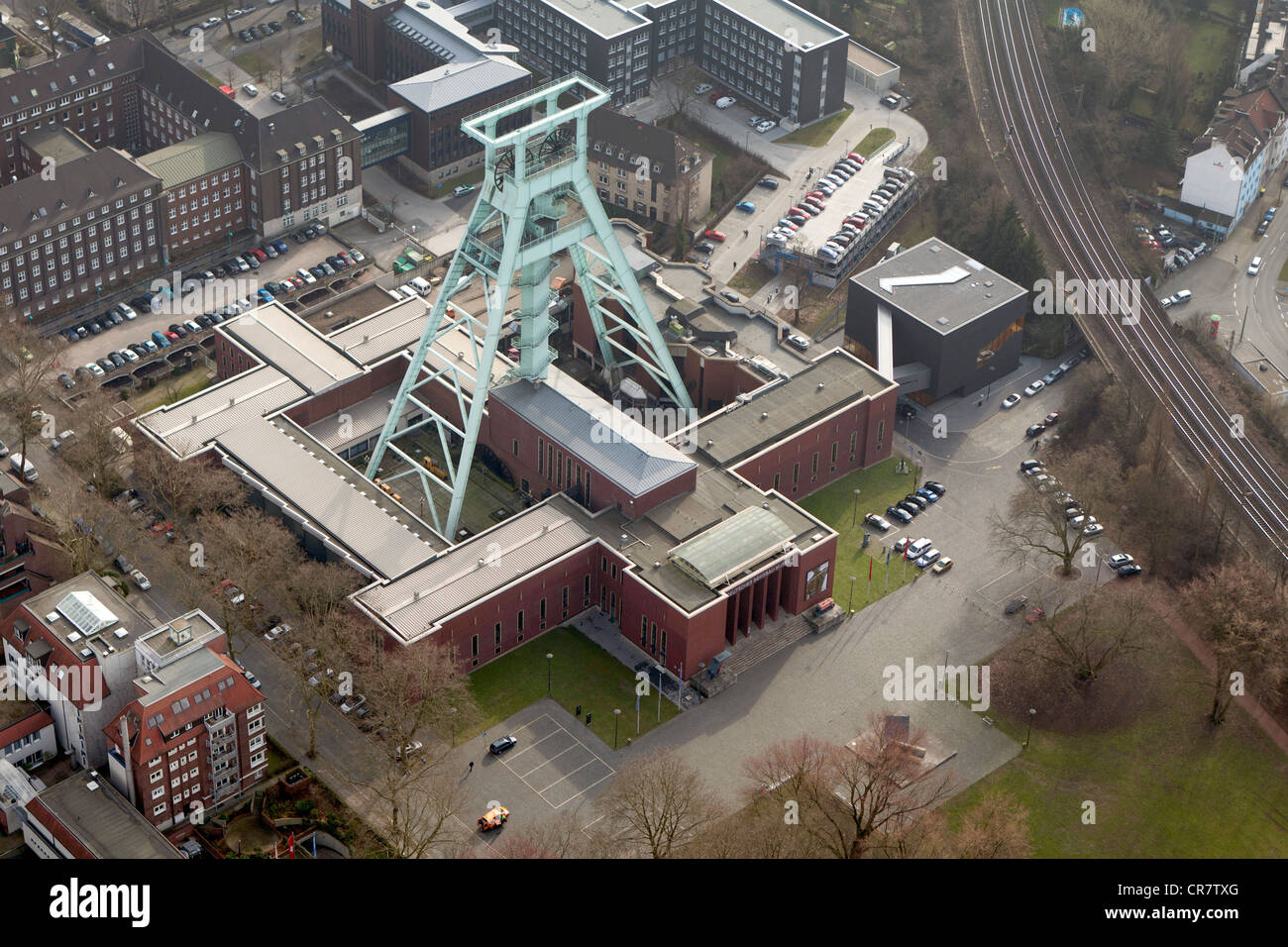 Aerial view, Bergbaumuseum mining museum, DMT-Gesellschaft fuer Lehre und Bildung mbH for teaching and education, - Stock Image