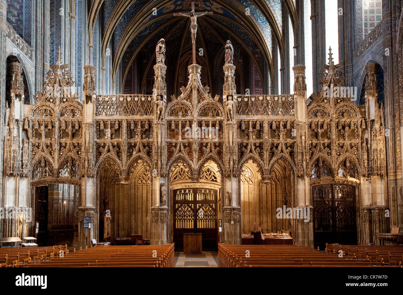 France, Tarn, Albi, the episcopal city, UNESCO World Heritage, St Cecile cathedral, Jube Stock Photo