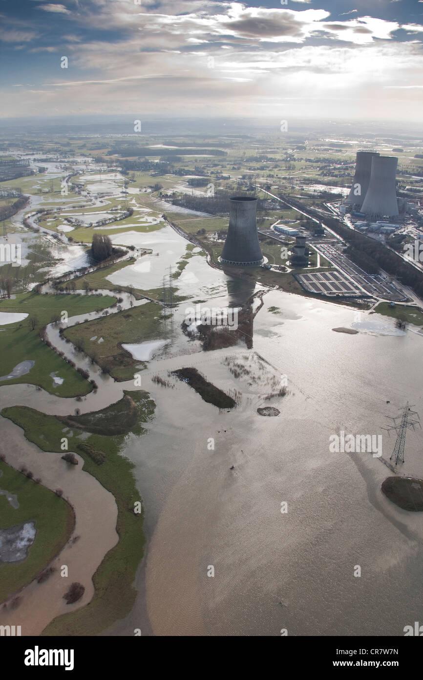 Aerial view, winter floods, Westfalen power plant, RWE Power, power plant construction site, Hamm, Lippetal, Ruhrgebiet - Stock Image