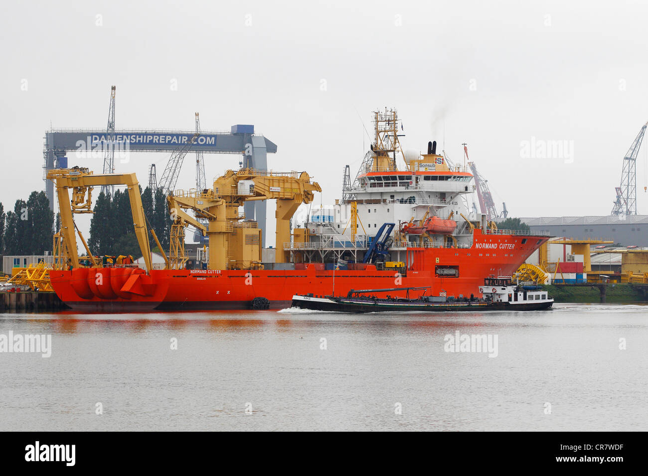 Technical servicing of ships, Rotterdam, Holland, the Netherlands, Europe - Stock Image
