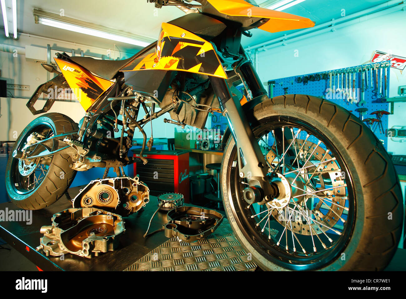 KTM 690 SM in the workshop - Stock Image