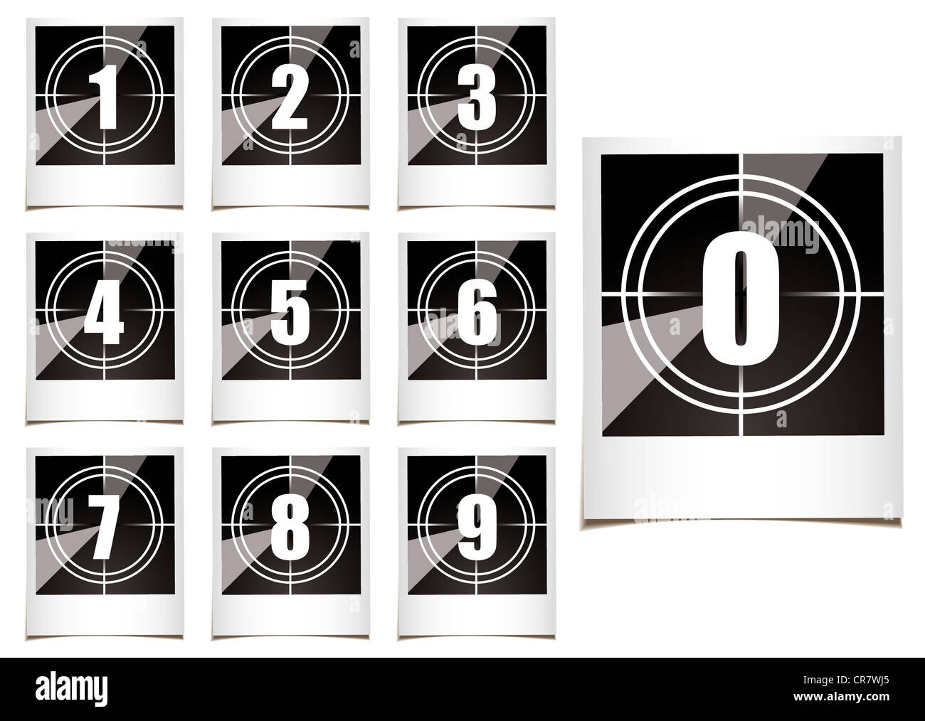 Collection of instant photographs with film type count down numbers - Stock Image
