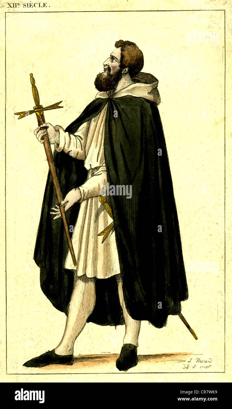 Templar servant or squire, historical illustration, 1852 - Stock Image