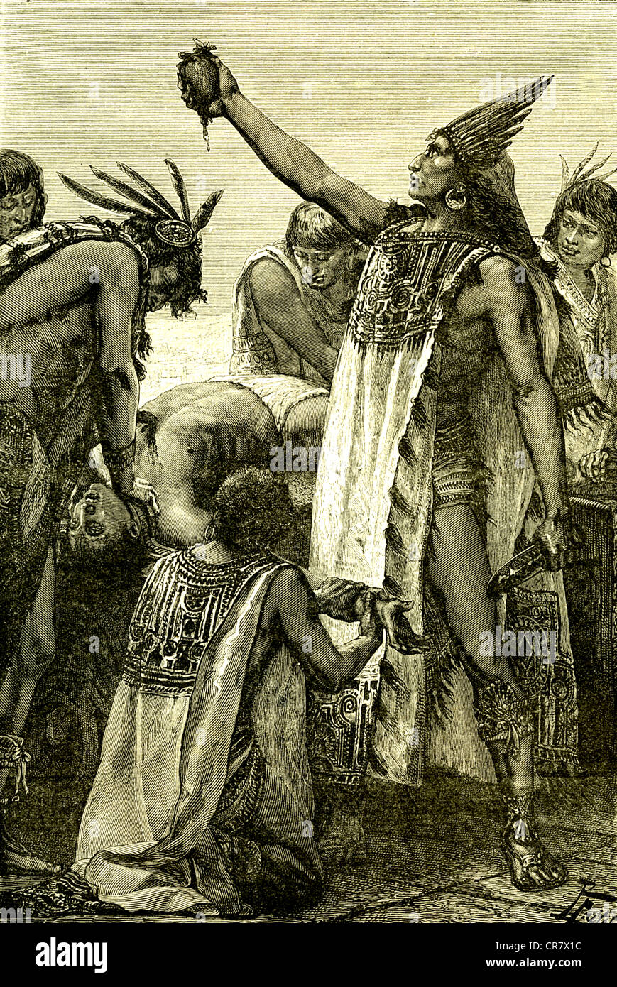Human sacrifice, priest showing the heart, Mexico, historical illustration, 1869 Stock Photo