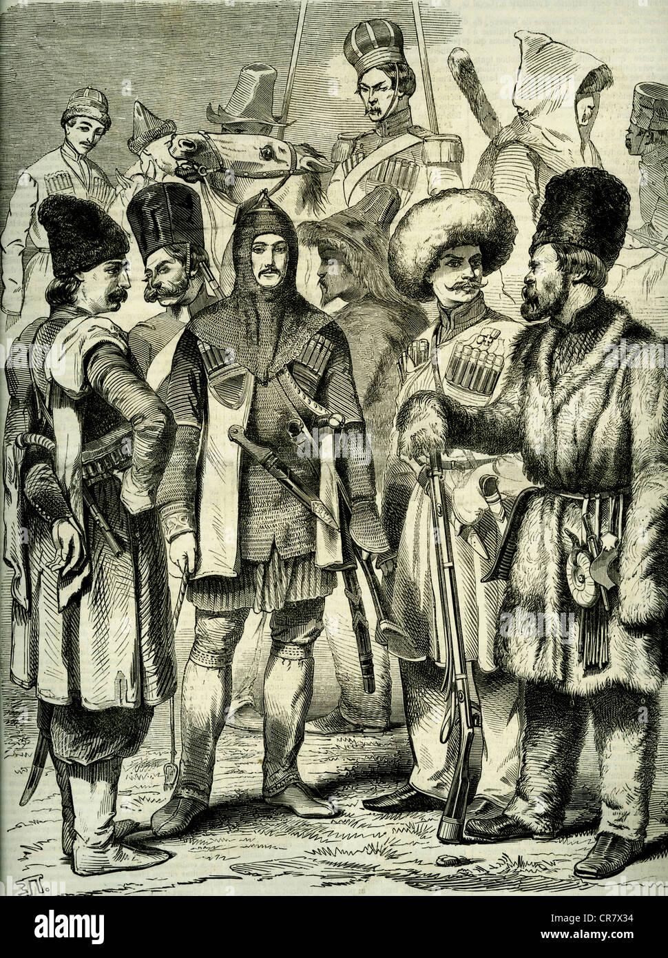 Irregular Russian Army, civilians, Russia, historical illustration, 1909 - Stock Image