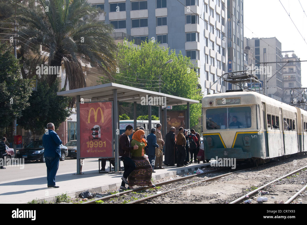 The tramway installed around 1908 is still running in Heliopolis ,Cairo - Its infrastructure needs urgent renovations - Stock Image