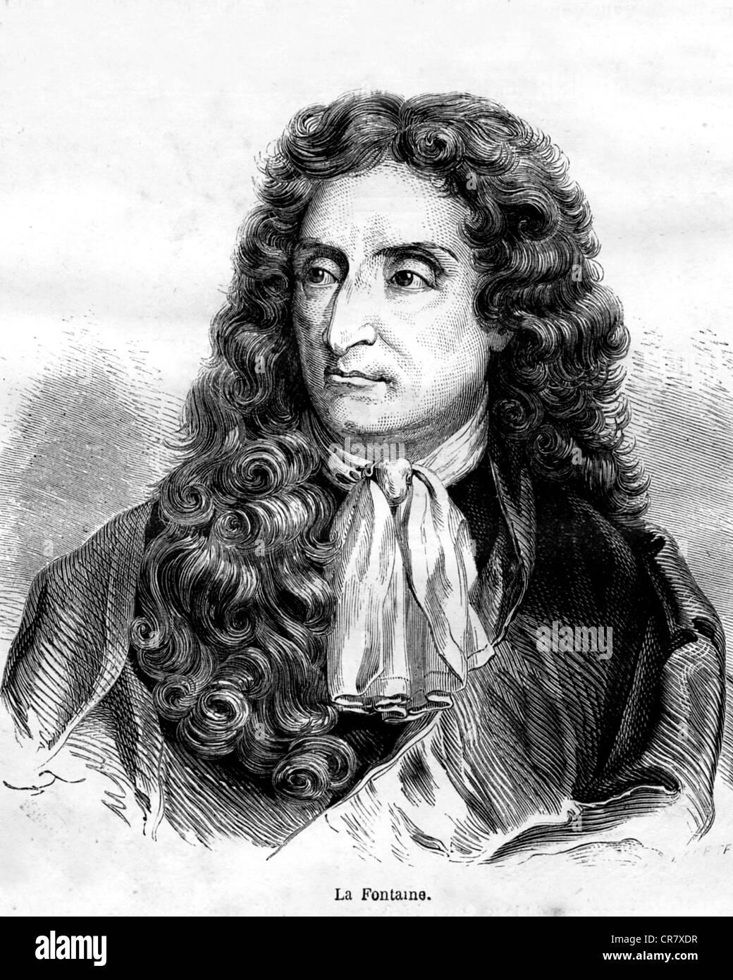 Jean de La Fontaine, 1621 - 1695, French writer, historical portrait, 1878