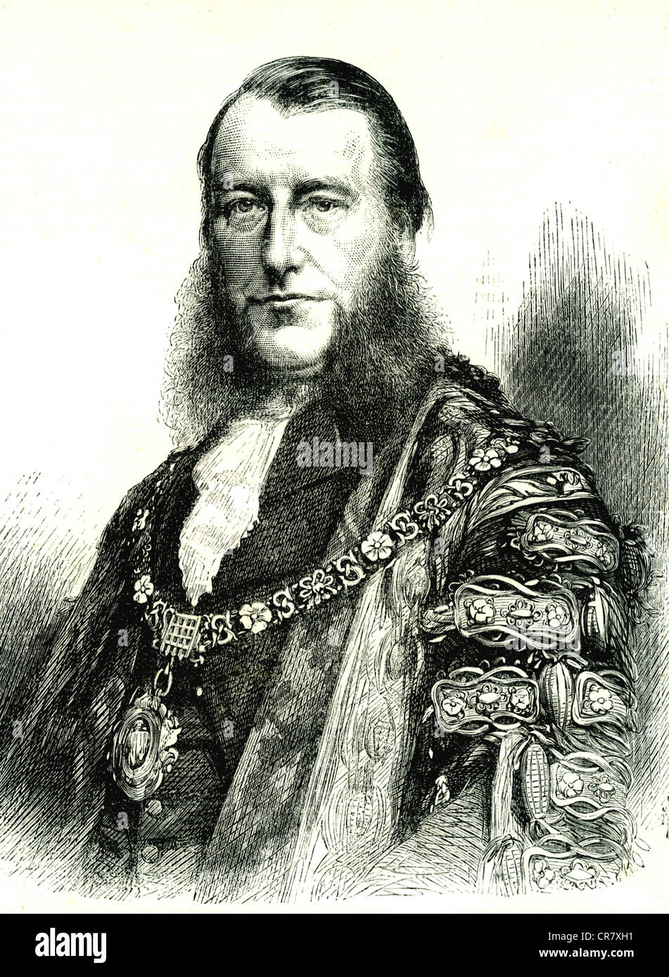 James Lawrence, Lord Mayor of London, historical portrait, 1870 - Stock Image