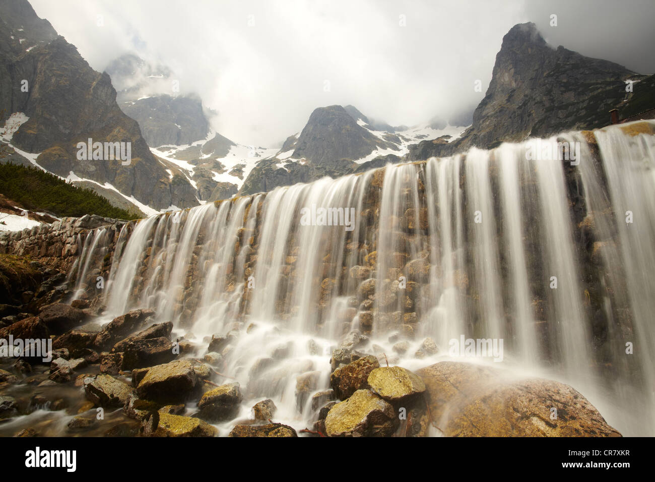 Waterfall from Zelene Pleso below the High Tatra mountains in Slovakia. - Stock Image