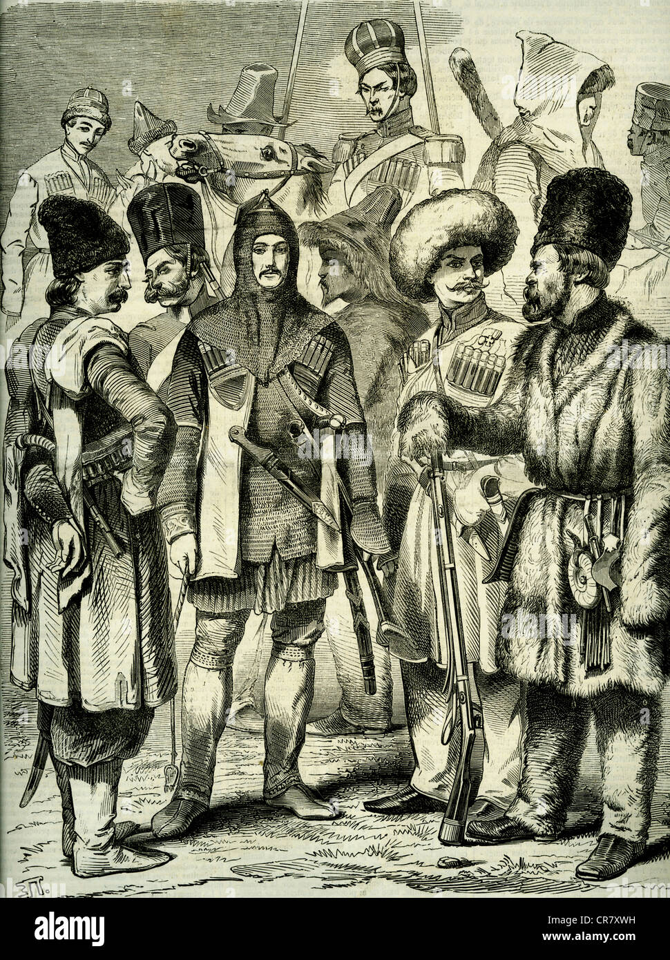 Russian army, irregular soldiers, historical illustration, 1920 - Stock Image