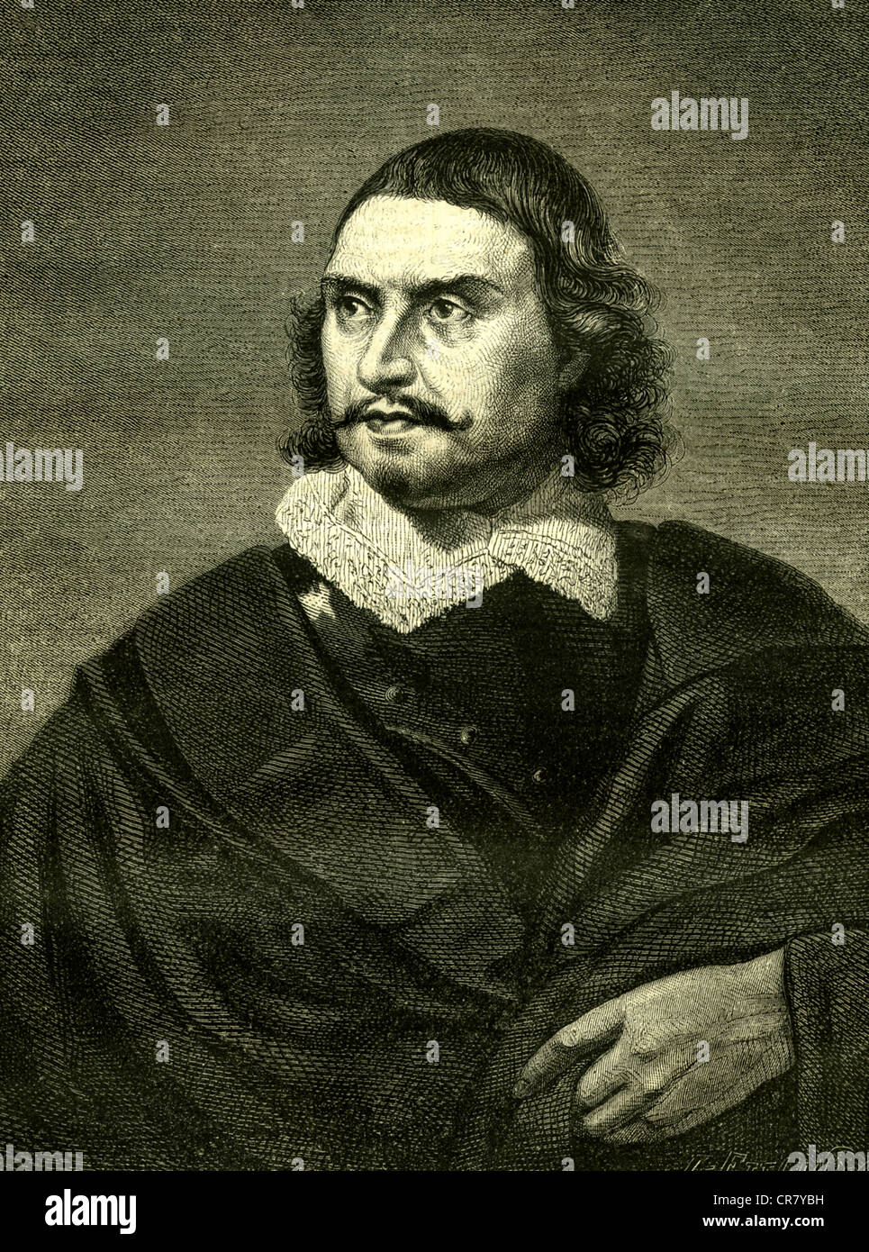 Oliver Cromwell, English statesman, 1599-1658, historical engraving from 1868 - Stock Image