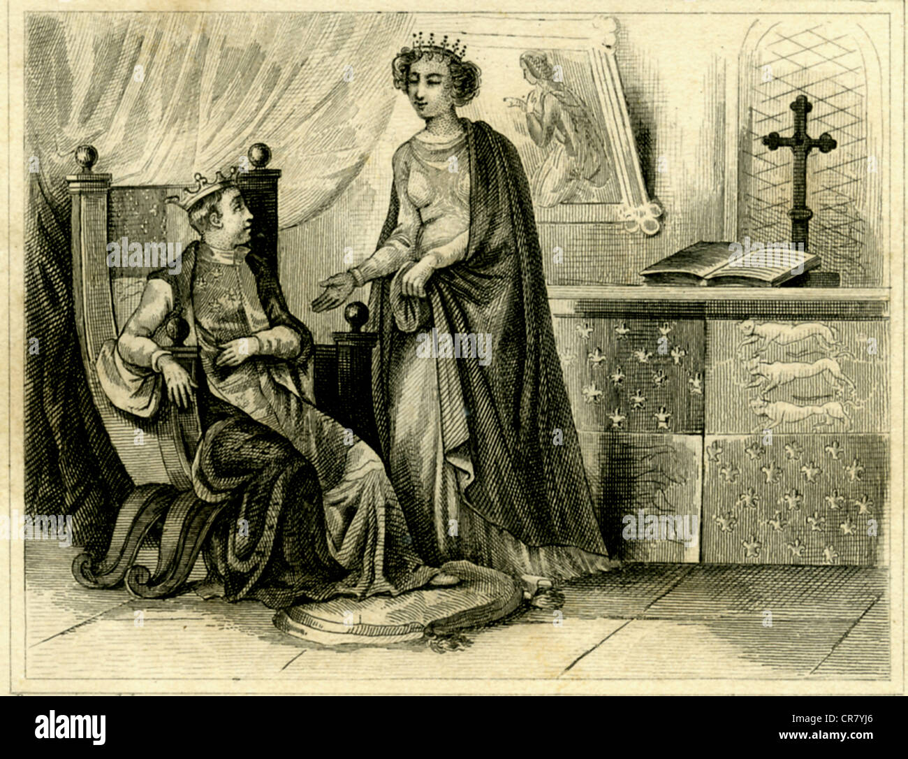 Joan and her son, England, Richard II kingdom, 1377, historical print from 1865 - Stock Image