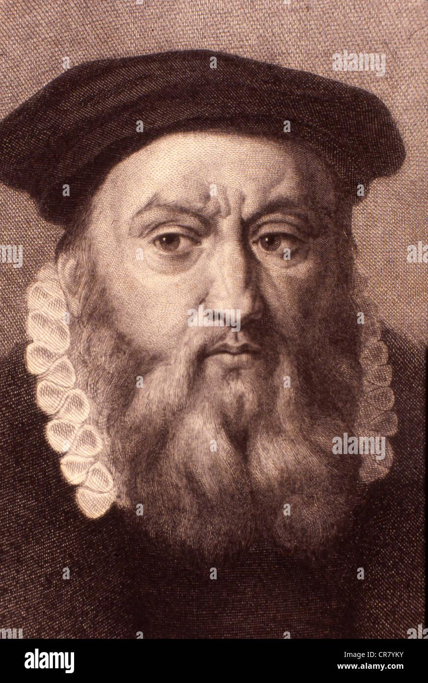 Jean Calvin, French religion reformer, 1509 - 1564, historical engraving, 1860 - Stock Image