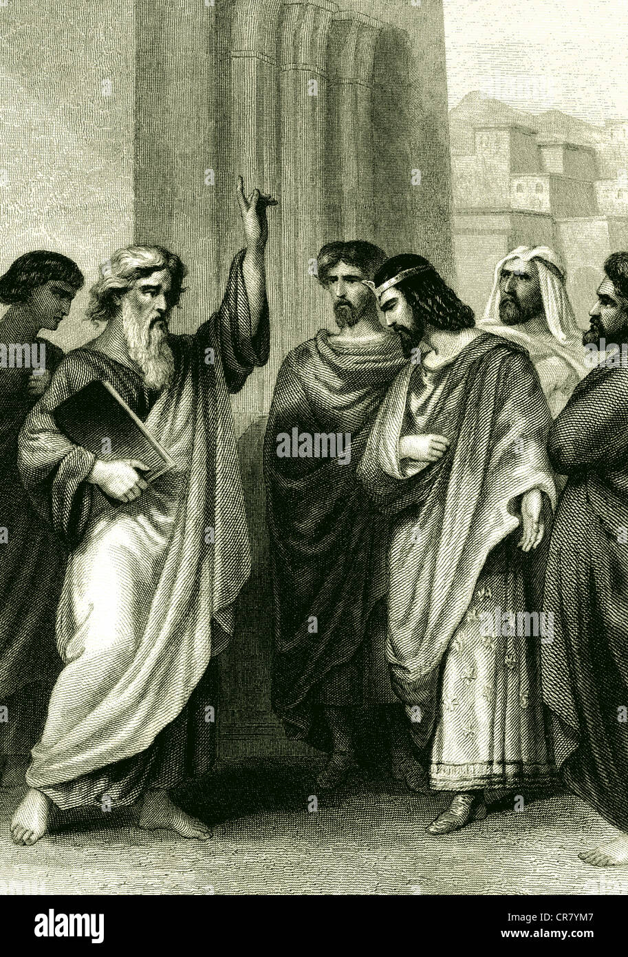 Isaias the Prophet, biblical scene, historical engraving, 1861 - Stock Image