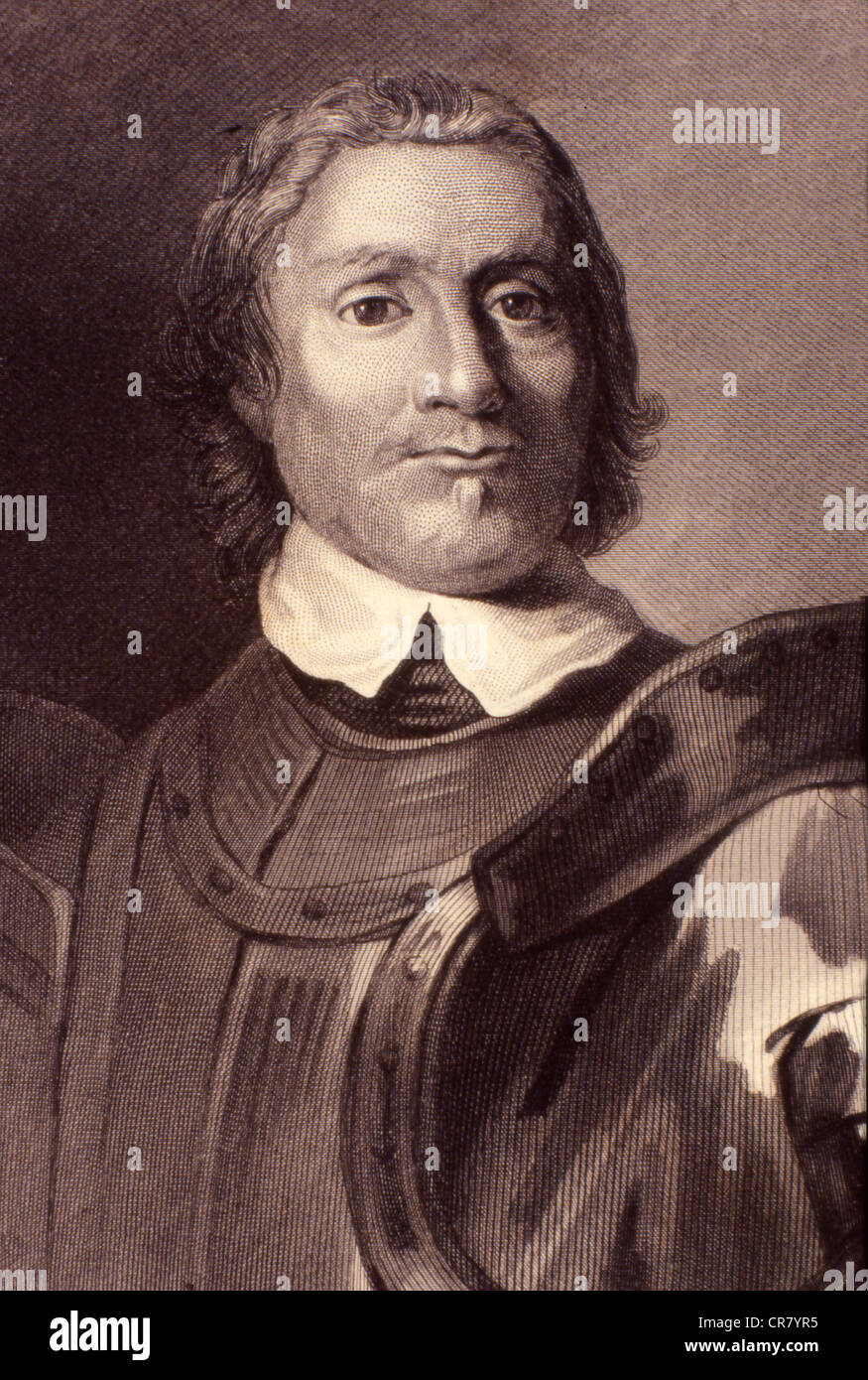 Oliver Cromwell, English statesman and politician, 1599 - 1658, historic engraving, 1865 - Stock Image