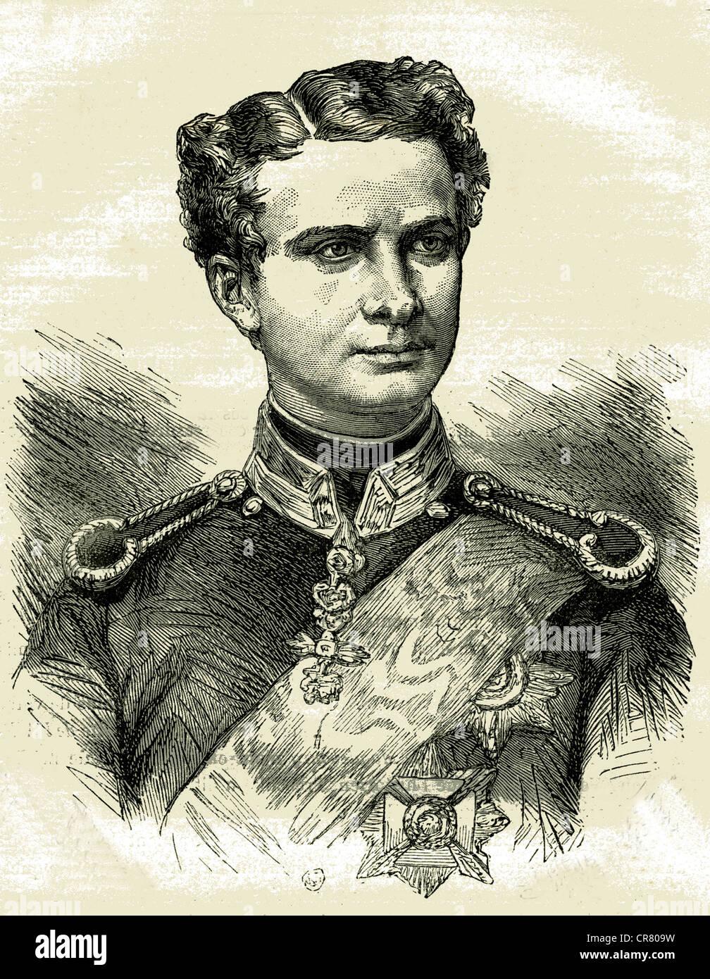 Ludwig II, King of Bavaria, 1845 - 1886, historical illustration, 1899 Stock Photo