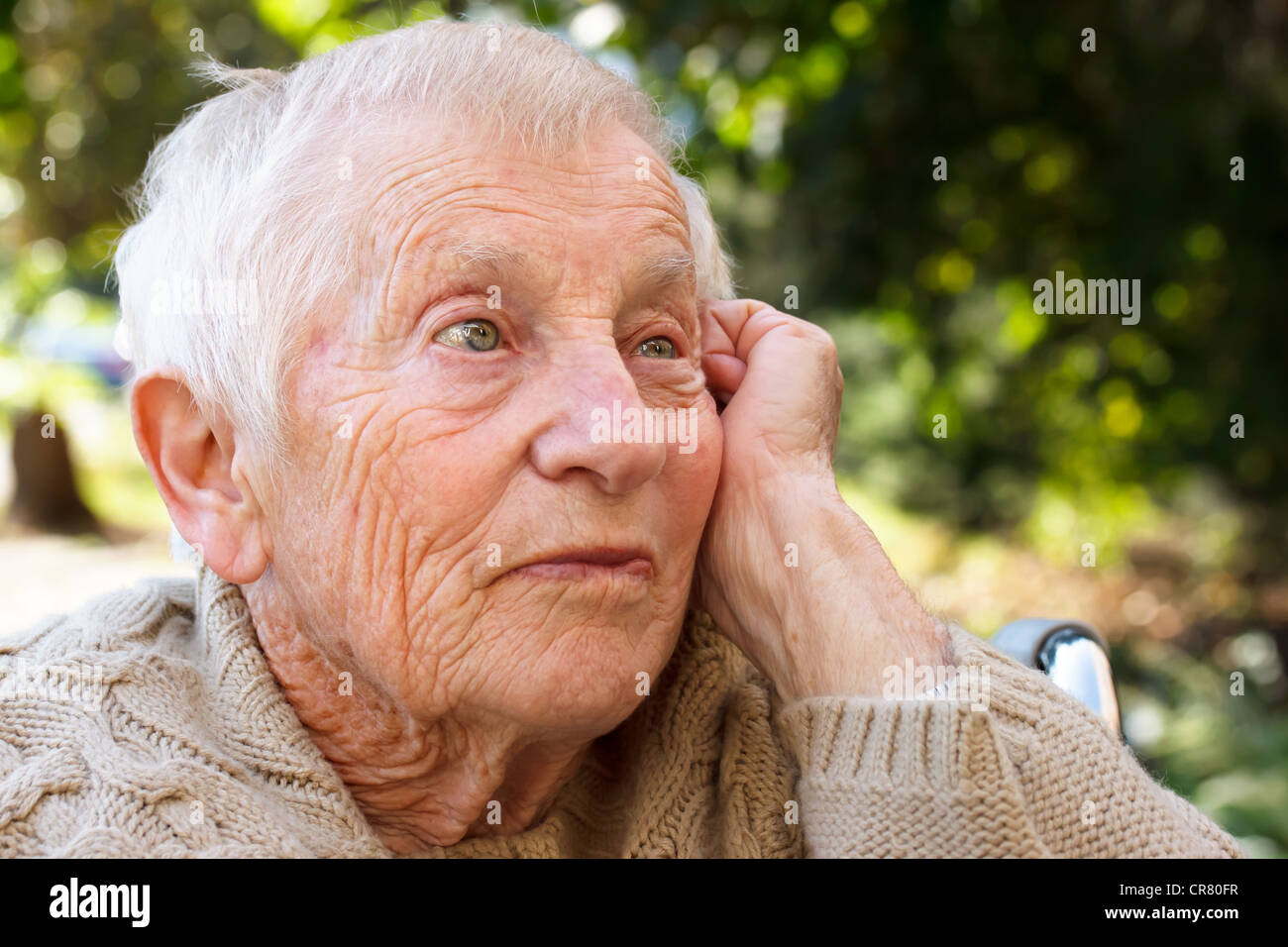 Senior Women in Wheelchair Stock Photo