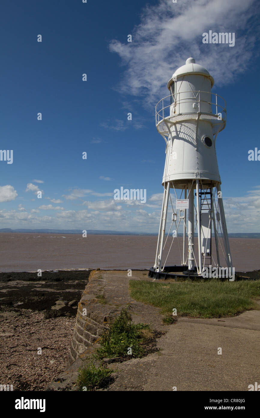 Black Nore Lighthouse, nr Portishead, North Somerset, UK. Lighthouse overlooking Severn Esturary - Stock Image