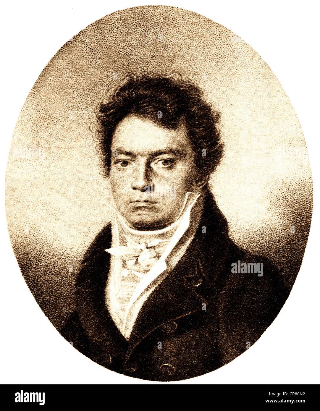 Ludwig van Beethoven in 1814, German composer, 1770 - 1827, historical illustration, 1868 - Stock Image