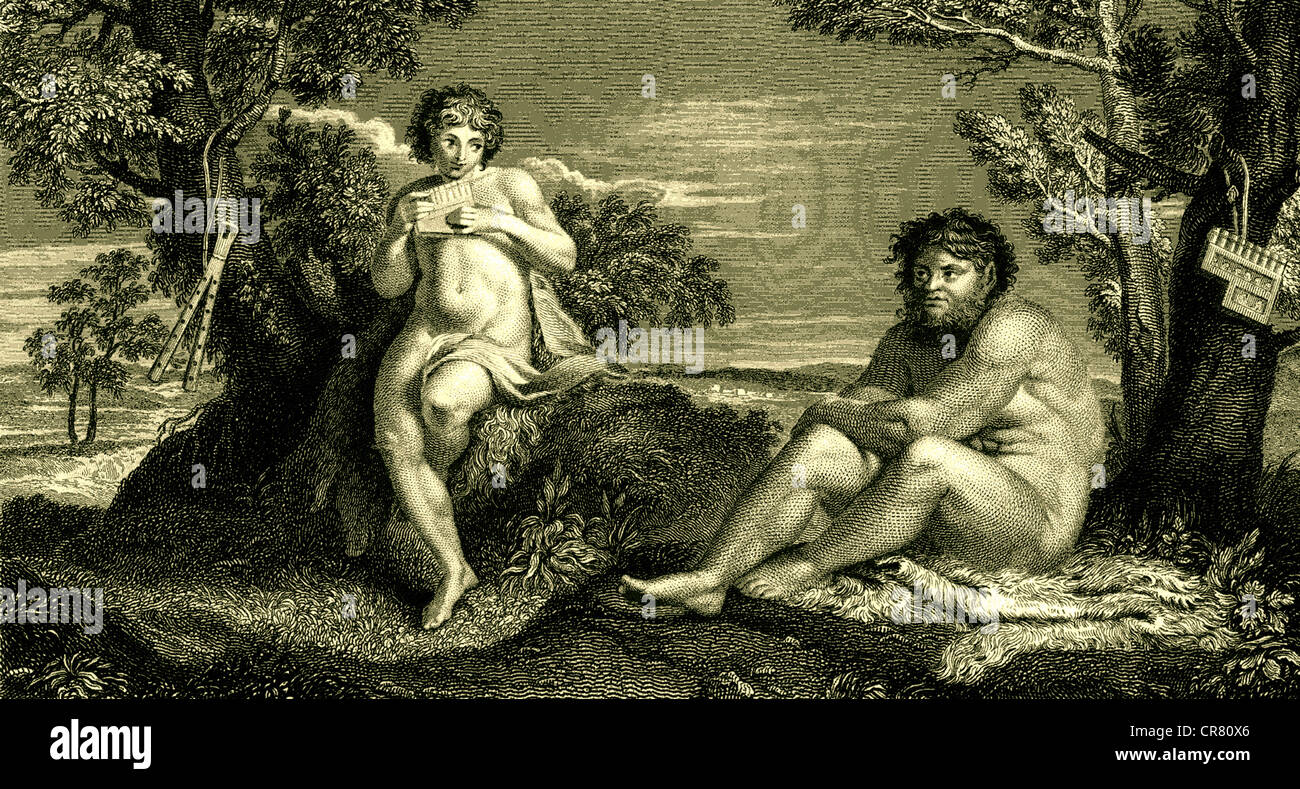 Pan with flute, and Apollo, historical illustration, 1864 - Stock Image
