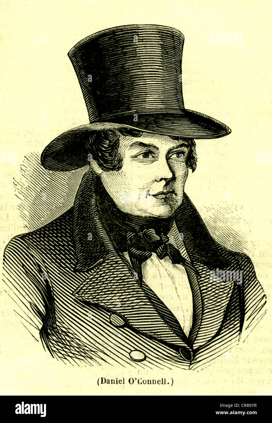 Daniel O'Connell, Irish political leader and lawyer, 1755-1847, historical illustration, 1858 - Stock Image