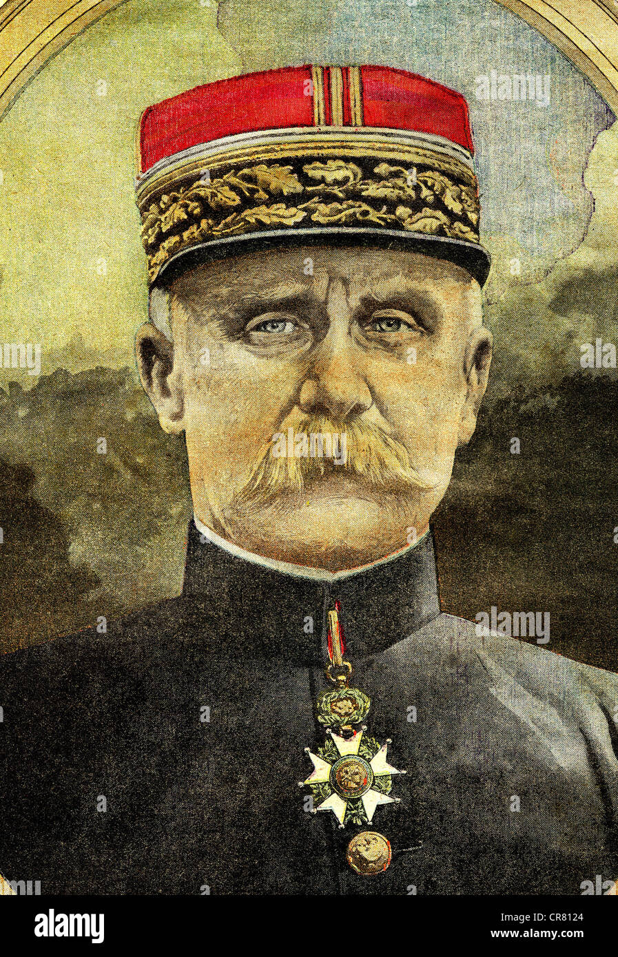 General Philippe Pétain, commander of the army in Verdun in First World War, historical illustration, 1918 - Stock Image