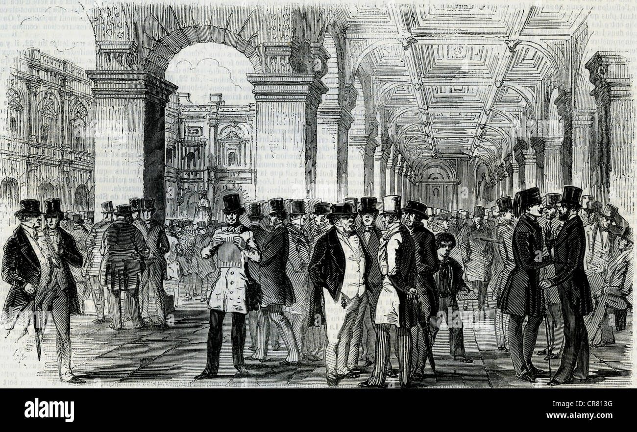 London Stock Exchange in October 1847, London, England, historical  illustration, 1869