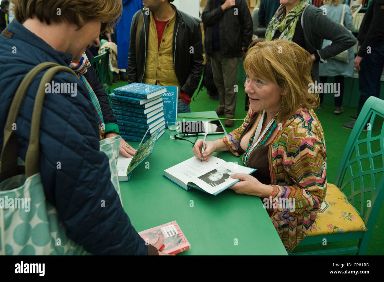 Hannah Rothschild, English writer and director pictured book signing at The Telegraph Hay Festival 2012, Hay-on - Stock Image