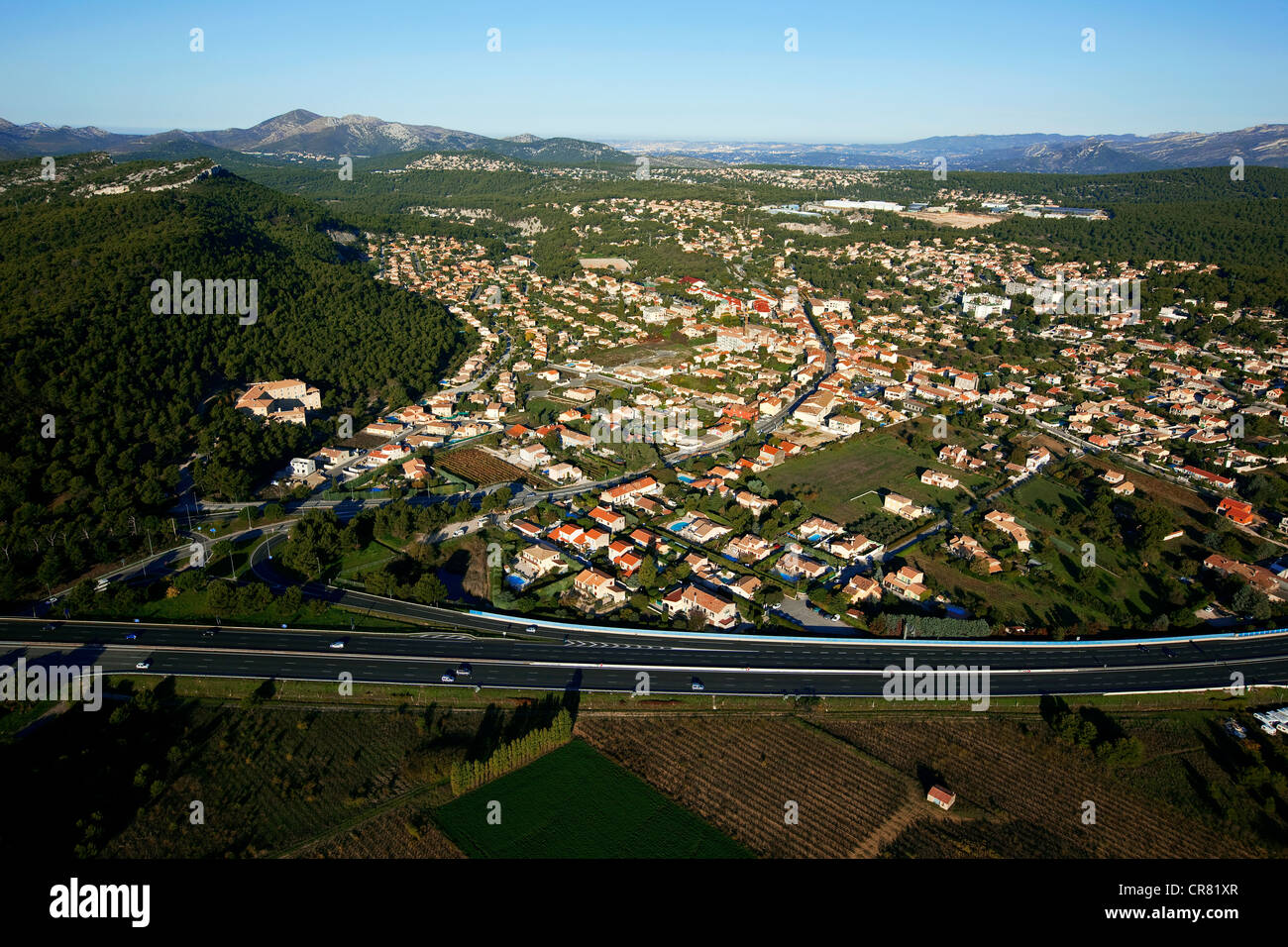 France, Bouches du Rhone, Roquefort la Bedoule, A50 motorway (aerial view) - Stock Image