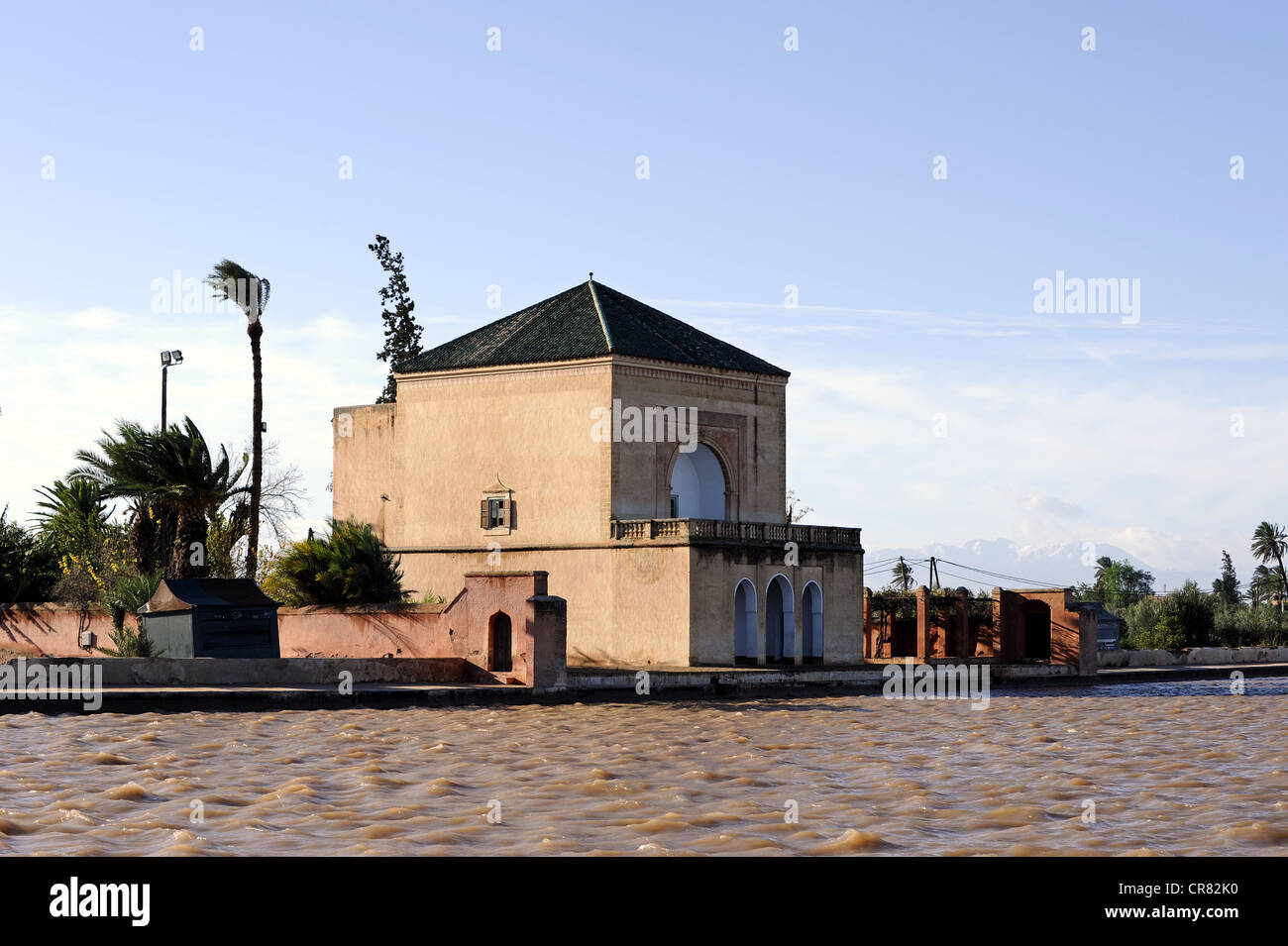 Pavilion in the Menara Gardens or Jardin de la Ménara, UNESCO World Heritages Site, Marrakech, Morocco, Maghreb, - Stock Image