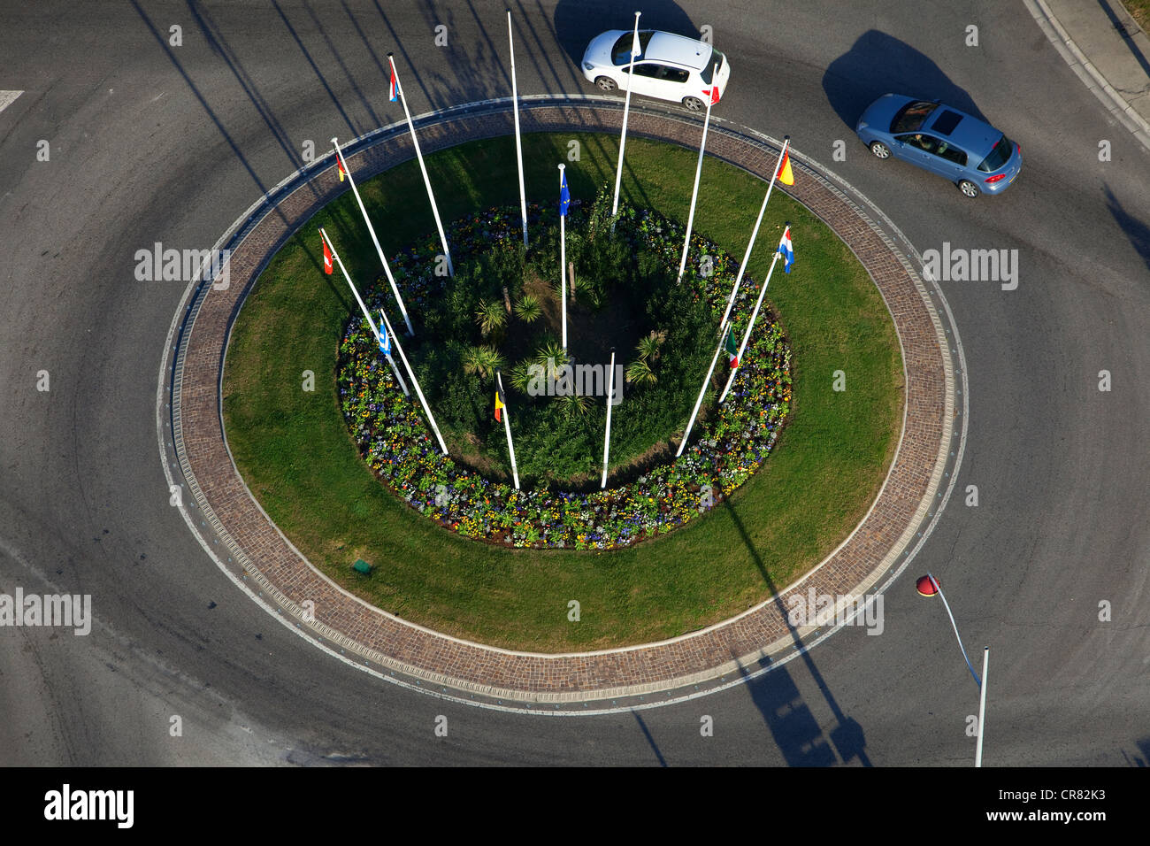 France, Bouches du Rhone, Marignane, roundabout flags Avenue May 8, 1945 (aerial view) - Stock Image