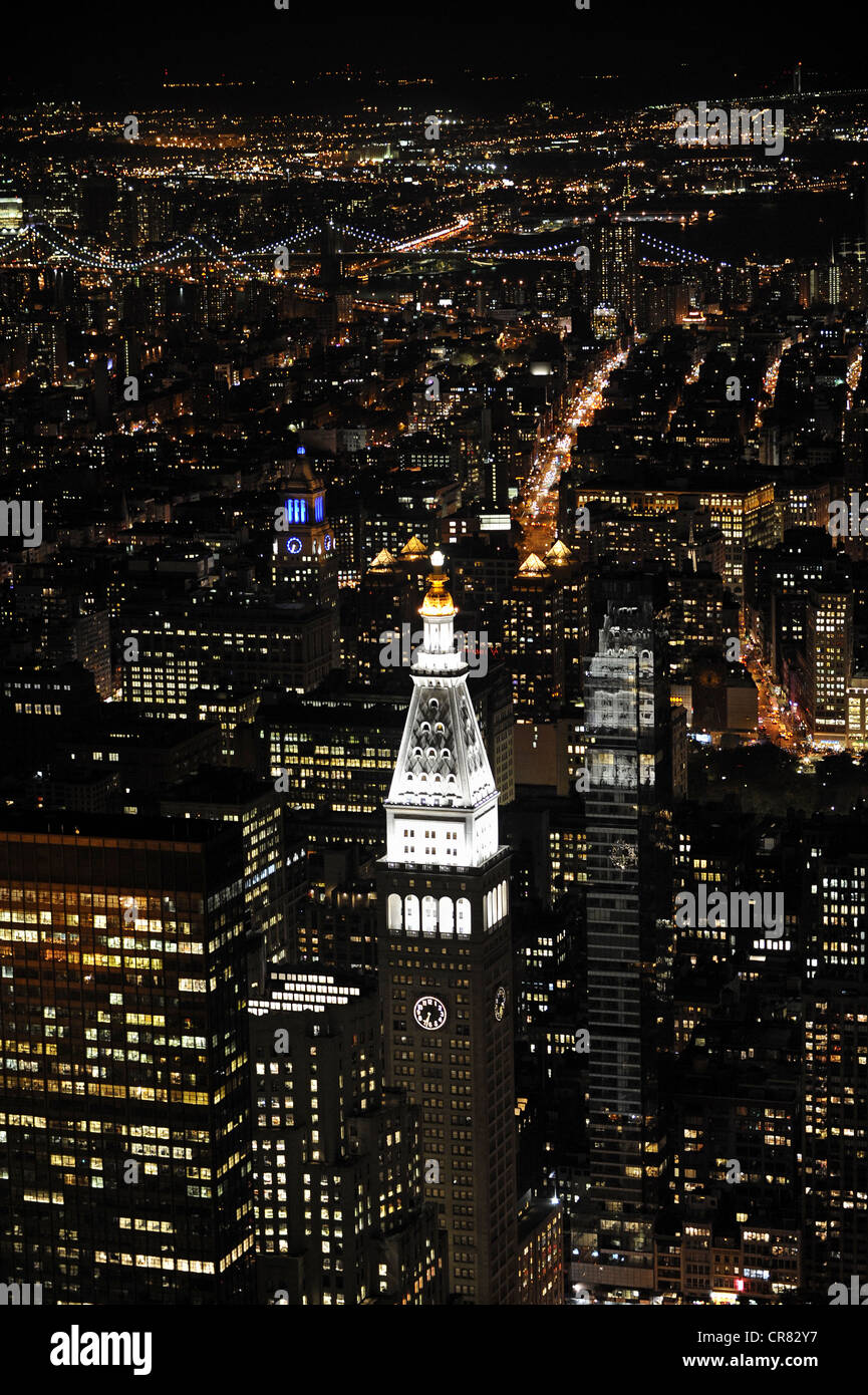 Manhattan as seen from the Empire State Building at night, southbound view, New York City, New York, USA, North - Stock Image