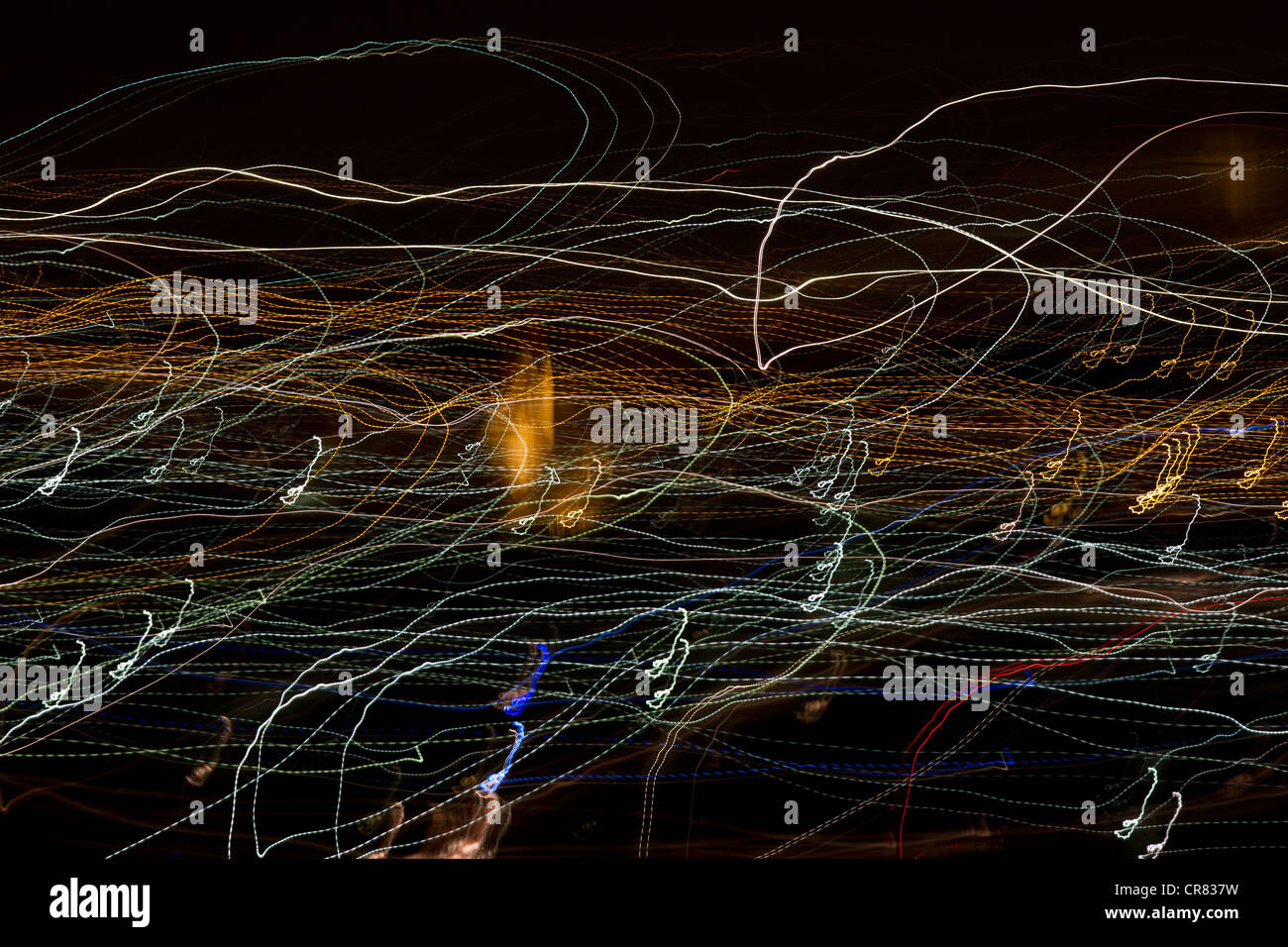 Moving lights at night with camera movements - Stock Image