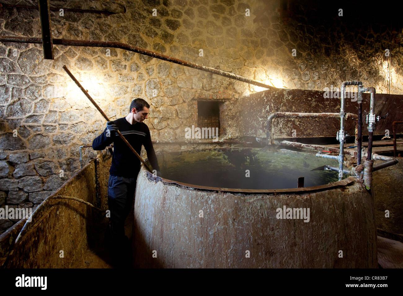 France, Bouches du Rhone, Marseille, the Serail soap, Savon de Marseille, soap pasting into the cauldron - Stock Image
